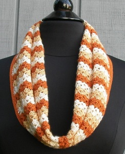 The Pumpkin Spice Cowl, made with Artiste #5 acrylic crochet thread