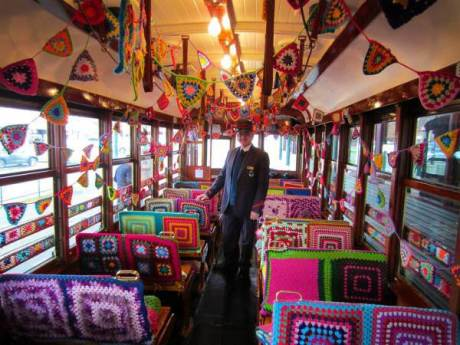 See how fun crochet can be? This is a photo of a Yarn Bombed tram in Victoria.