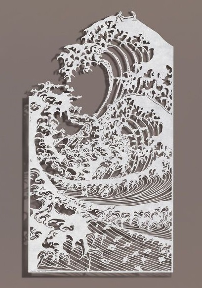 Sawing Waves, Rice paper on silk, 2012, photo by Bovey Lee